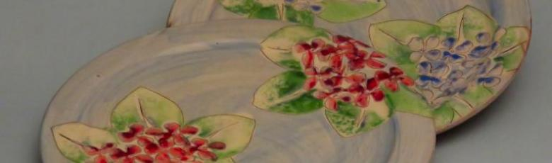 Assiettes plates hortensia