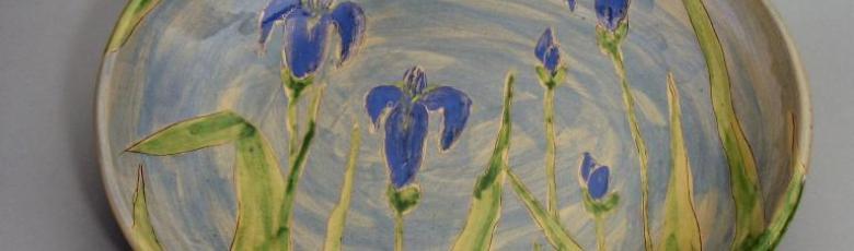 Serving Plate blue iris