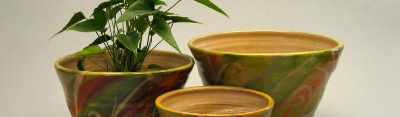 Decorative flower-pots  - green and orange