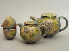 Théières et petits bols hortensia bleu