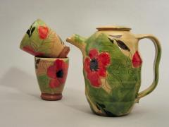 Teapot and tumblers - poppy