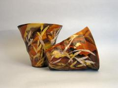 Vases ovales - Herbes ocre et noir