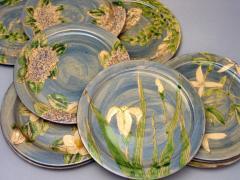 Assiettes plates - décor bleu