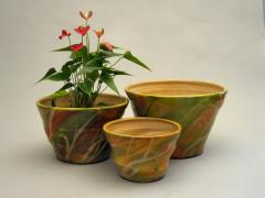 Decorative flower-pots  - green and orange