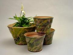 Decorative flower-pots - green
